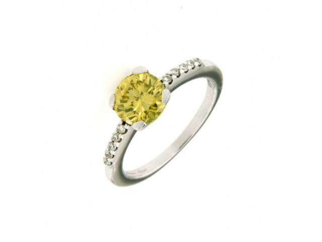 Yellow Fancy Brilliant and Diamonds Ring