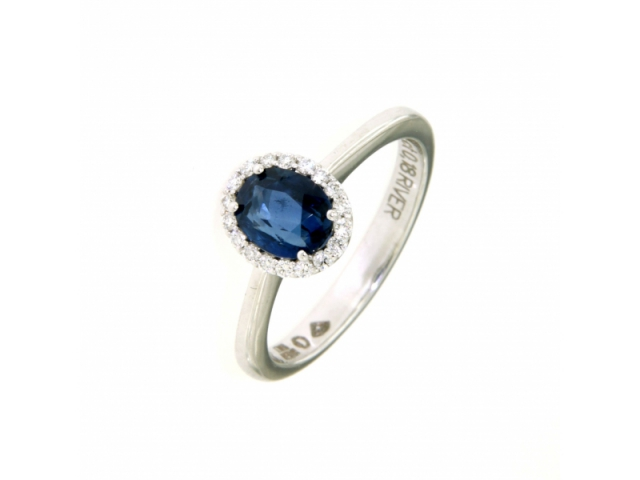 Sapphire and River Diamonds Ring