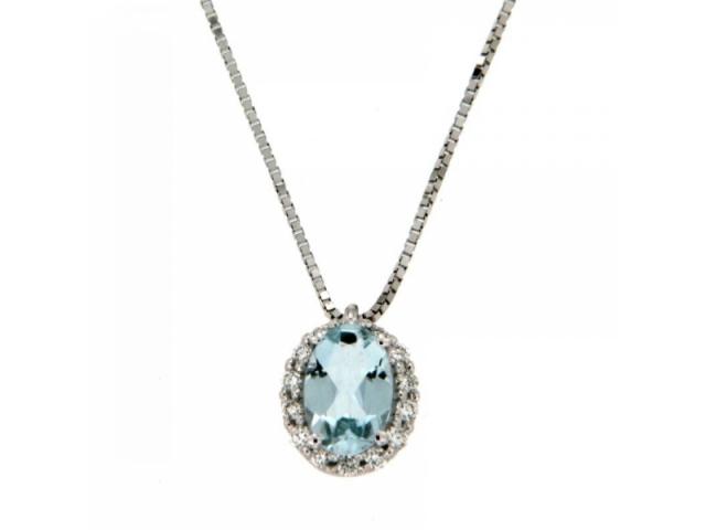 Aquamarine Necklace Diamonds and White Gold