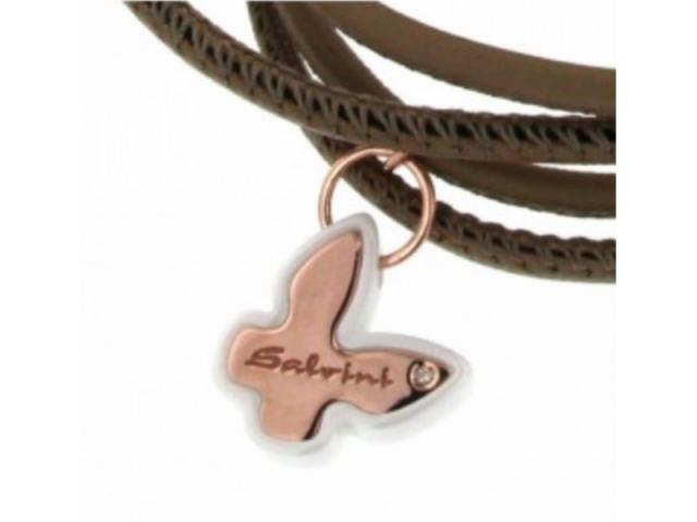 Frammenti D'Autore Gold Butterfly Leather Bracelet