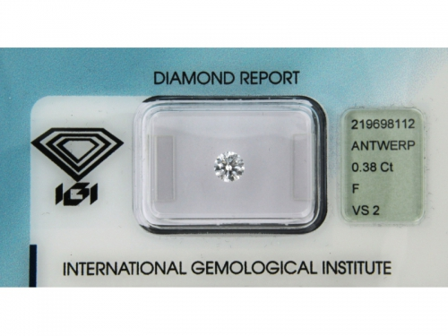 Diamante IGI Naturale 0,38 ct, F Color in Blister