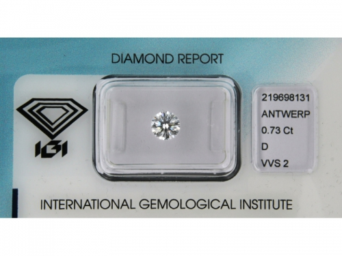 Brilliant-Cut IGI Diamond D Color 0,73 ct