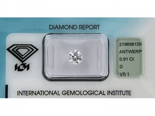 Brilliant-cut IGI Diamond D Color 0,91 ct