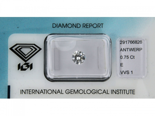 Diamante IGI Naturale 0,75 ct, E Color