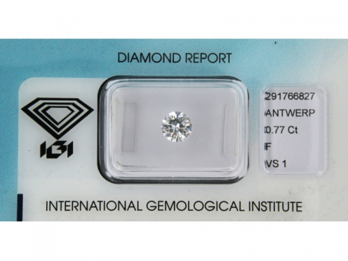 Brilliant-cut IGI Diamond F Color 0,77 ct