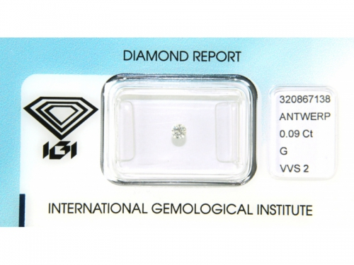 Brilliant-cut IGI Diamond G Color 0.09 ct