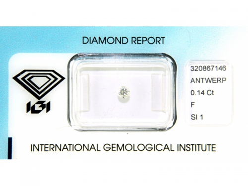 Diamante IGI Naturale 0,14 ct F Color