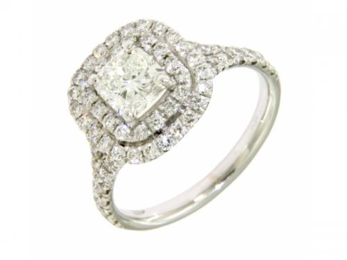 Anello Oro Bianco con Diamante Cuscino