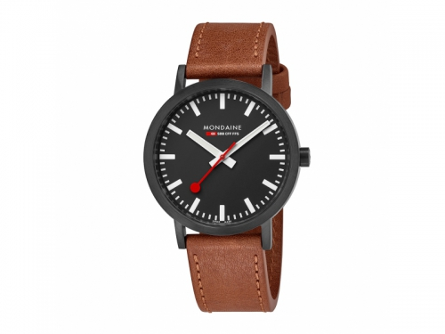 Men's Black Classic Watch Brown Leather Strap