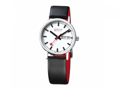 Mondaine Classic Watch Red Strap