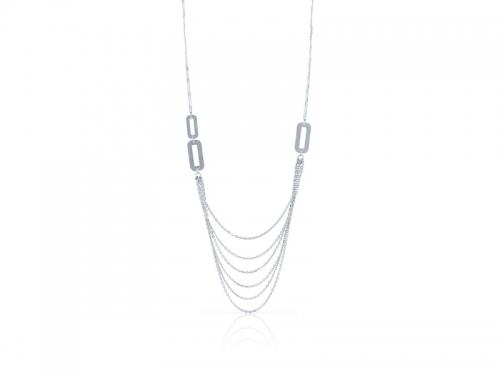 Collana multifilo argento bianco