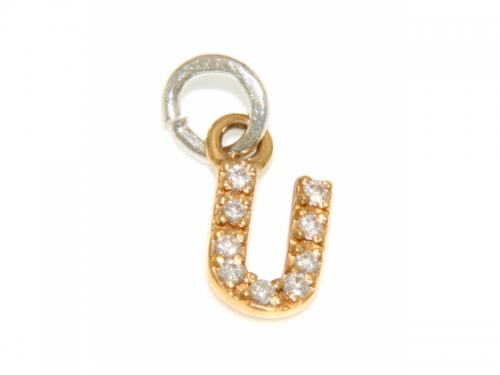Gold and Diamond Initials Pendant - U