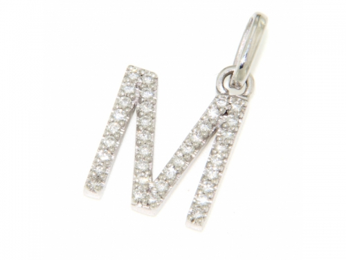 Letter M Pendant gold and diamonds