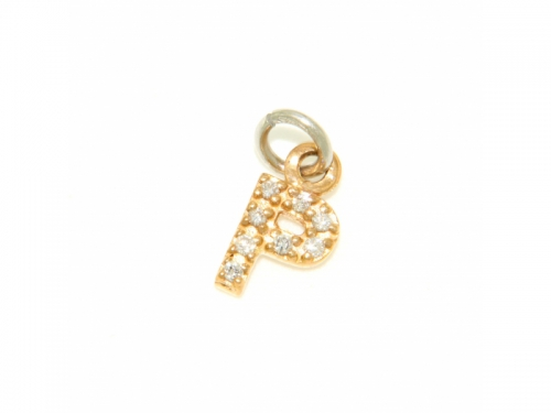 Letter P Pendant gold and diamonds