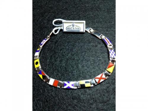 Silver Bracelet Enameled Nautical Flags 5,20mm
