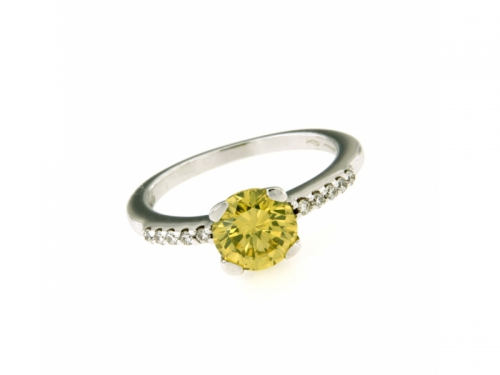 Anello Brillante Fancy Giallo e Diamanti