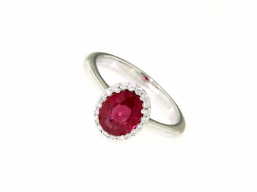 Burmese Ruby and Diamonds Ring