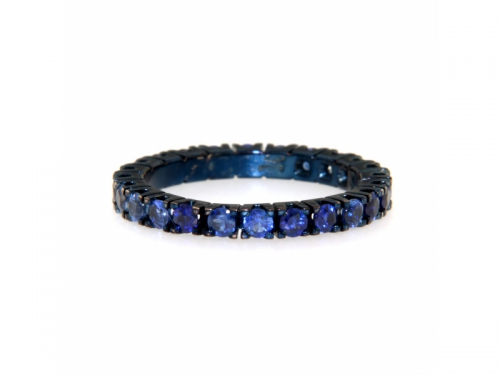 Diamonds and Blue Rhodium-Plated Gold Ring