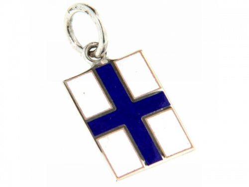 Nautical Signal Flag Silver Pendant Letter X