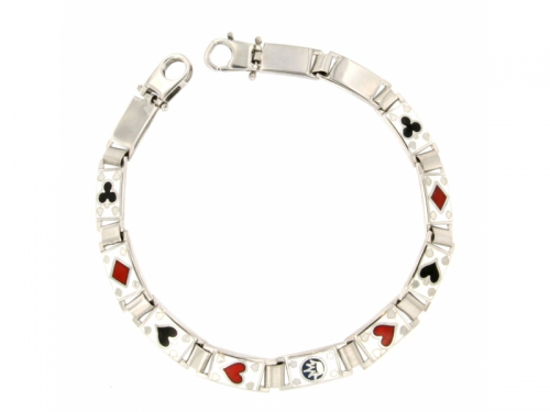 Playing Cards Silver Bracelent