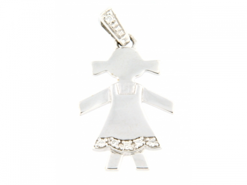 White Gold Girl Diamond Pendant