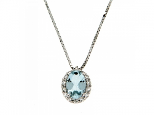Aquamarine Necklace Diamonds and White Gold
