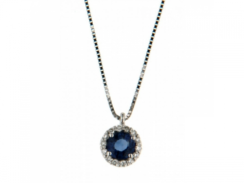Sapphire Necklace White Gold & Diamonds