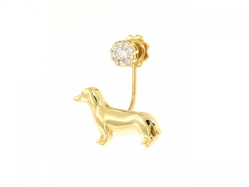 Gold Dog Earring with Diamonds
