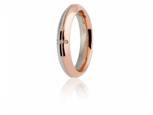 Fede Anniversario 9.0 Eterna 4 mm Oro Rosa Bianco Diamanti