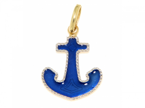 Blue Anchor Gold Pendant