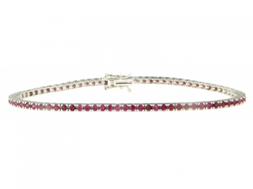 Tennis Bracelet White Gold 18 kt and Rubies 2,40 ct